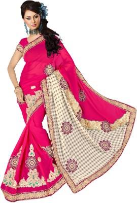 Aryagarment Embriodered Bollywood Georgette, Brasso Sari