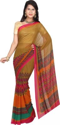 EthnicQueen Floral Print, Solid Fashion Georgette Sari