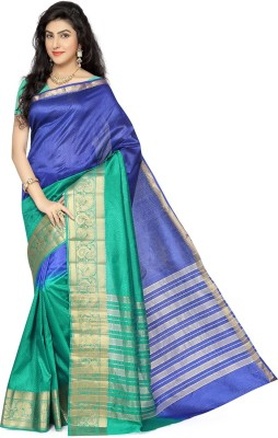 Rani Saahiba Self Design Fashion Tussar Silk Sari(Blue, Green)