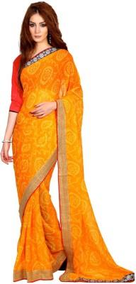 Velli Self Design Bandhej Chiffon Sari