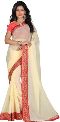 STARLIGHT CLUB Embroidered Fashion Georgette Sari(Beige)