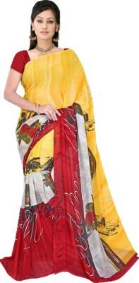 mauli Floral Print Daily Wear Chiffon Sari