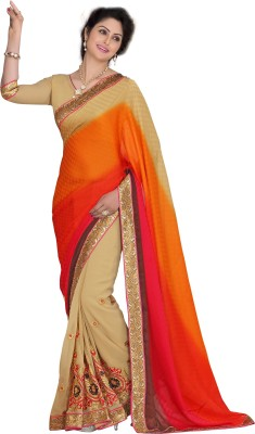 The Fashion World Embriodered Fashion Satin Sari