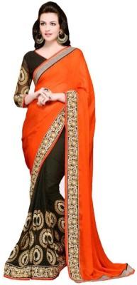 Raapchic Orange Embriodered Fashion Georgette Sari