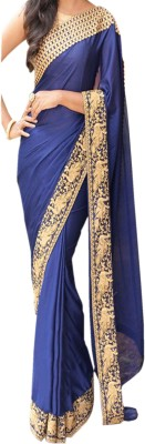 Dertaste Plain Fashion Satin, Chiffon Sari