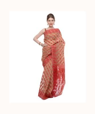 Samayra Self Design Jamdani Handloom Silk Cotton Blend Sari