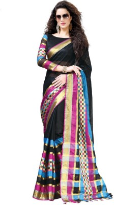 EvaFashion Checkered, Solid Bollywood Handloom Cotton Linen Blend Sari