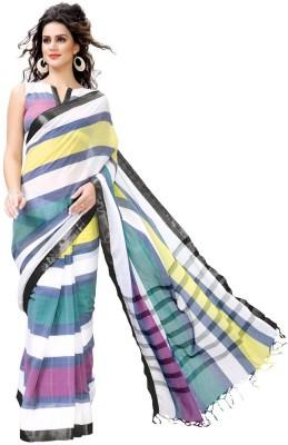 EvaFashion Striped Bollywood Handloom Cotton Linen Blend Sari