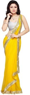Ganes Plain Fashion Georgette Sari
