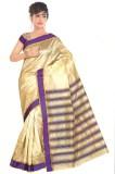 Blazon Striped Bollywood Cotton, Silk Sa...