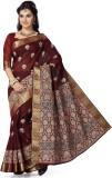 Mann Printed Gadwal Cotton Saree (Maroon...