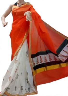 MCLS FASHION Printed, Hand Painted Fashion Cotton Sari