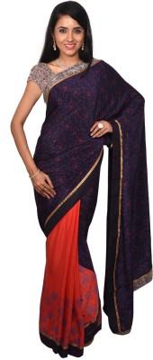 Arisidh Printed Bollywood Synthetic Crepe Sari