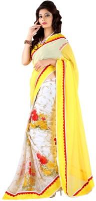 Touch Fashion Plain, Floral Print Bollywood Chiffon Sari