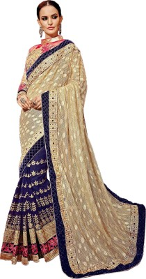Manish Creation Embellished, Embriodered Bollywood Silk, Georgette, Jacquard Sari