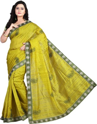 Cozee Shopping Embriodered, Self Design Fashion Lace, Silk Sari