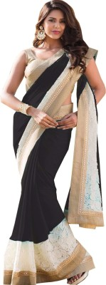Krishna Fab Striped Bollywood Georgette, Brasso Sari