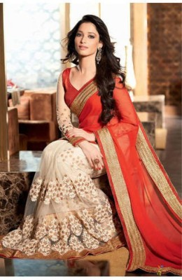 F3 Fashion Self Design Bollywood Net Sari