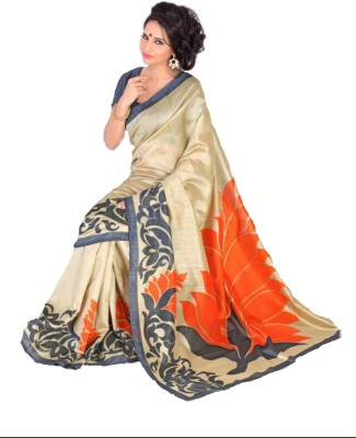 Swaranjali Floral Print, Self Design Fashion Art Silk, Cotton Sari