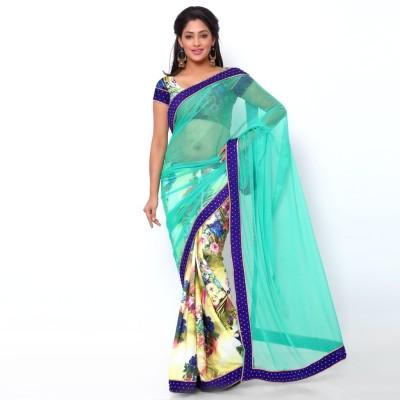 Ziyaa Floral Print Daily Wear Net, Crepe Sari