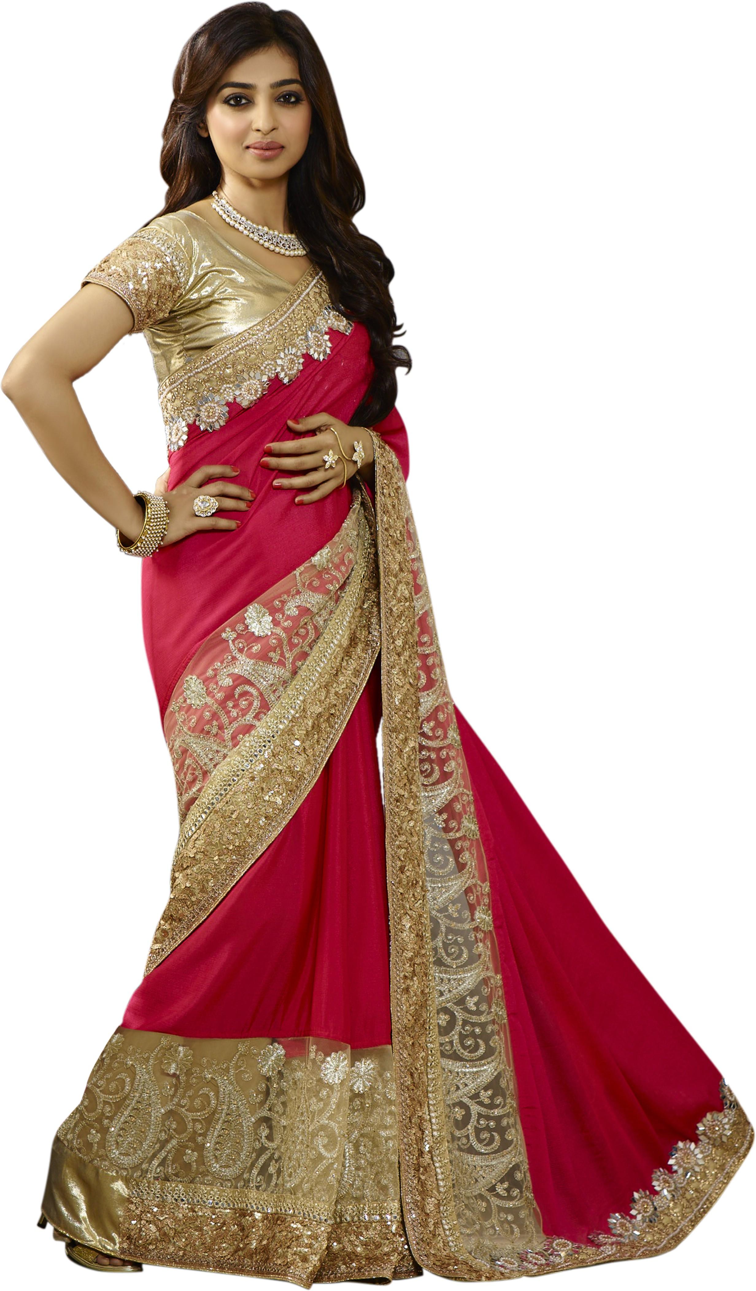 Chirag Sarees Embroidered Bollywood Crepe Saree(Pink)