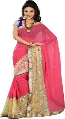 Patij Embriodered Fashion Brasso, Georgette Sari
