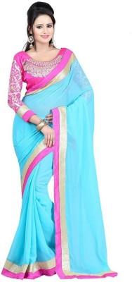 Newonfashion Plain Fashion Chiffon Sari