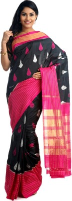 BlackBeauty Woven Pochampally Handloom Pure Silk Saree(Black, Pink) at flipkart