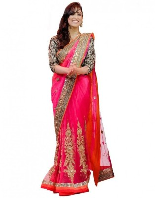 Ustaad Embriodered Daily Wear Net Sari