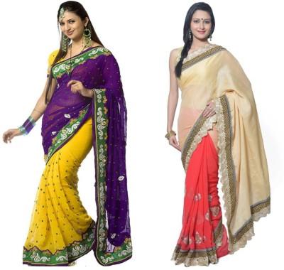 Red Carpet Self Design, Plain, Embriodered Bollywood Net, Georgette, Chiffon Sari