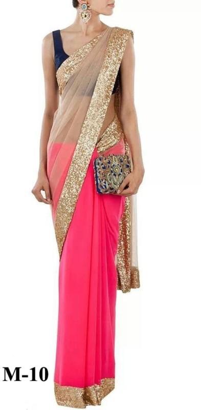 Khantil Self Design Fashion Net Saree(Pink, Gold)