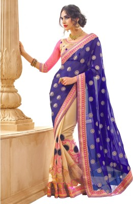 Aagamanfashion Embriodered Fashion Synthetic Georgette, Net Sari