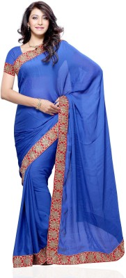 Diva Fashion Solid Fashion Chiffon Sari