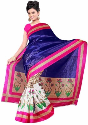 Click Striped Bollywood Art Silk Sari