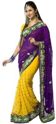 Wowcreation Embriodered Bollywood Handloom Chiffon Sari