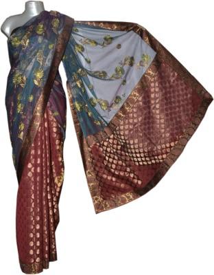 Kreasions Floral Print Fashion Chanderi Sari