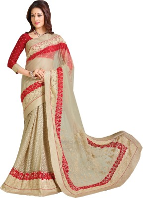 Queenbee Embellished, Embriodered, Self Design Fashion Net, Brasso, Georgette Sari
