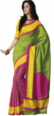 Swaranjali Striped, Geometric Print Bhagalpuri Art Silk, Cotton Sari