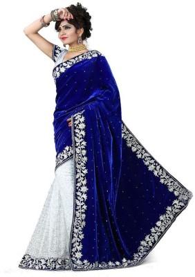 Shiv Fashion Club Embriodered Bollywood Brasso, Velvet Sari