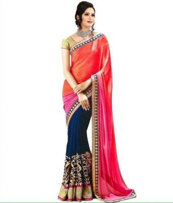 Anugrah Textile Embriodered Lehenga Saree Chiffon Sari