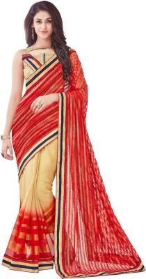 Onlinefayda Embroidered Fashion Net Saree(Red, Beige) at flipkart