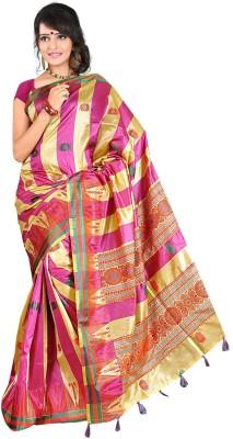 Moon Sarees Woven, Self Design Manipuri Handloom Silk Sari