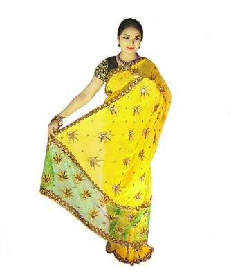 Home Design Embellished, Self Design Bollywood Handloom Chiffon, Net Sari