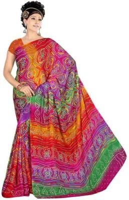 Indian MAD Printed Bandhani Crepe Sari