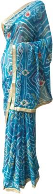 RAJASTHANI BANDEJ Printed Bandhani Synthetic Sari