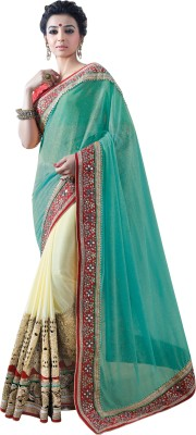 Chirag Sarees Embroidered Bollywood Georgette Sari(Green)
