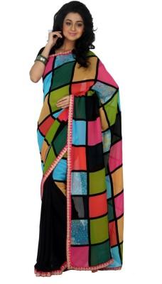 Rashee Checkered, Solid Fashion Viscose Sari