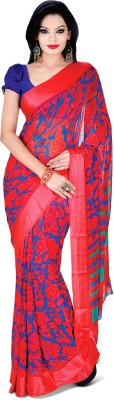 Adah Fashions Printed Bhagalpuri Georgette Sari Red, Blue  available at Flipkart for Rs.265