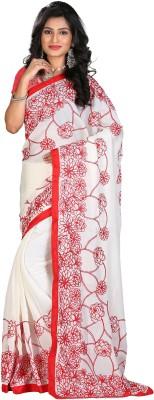 STARLIGHT CLUB Embroidered Fashion Silk Sari(White)