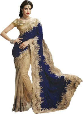 Red Carpet Solid, Self Design, Embriodered, Embellished Bollywood Velvet, Net Sari